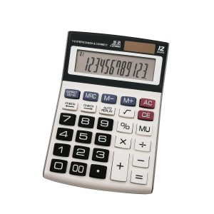 Office battery 12 digits calculator with solar energy