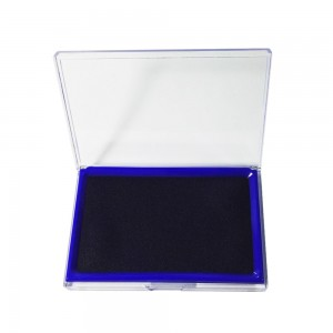 Office desktop square shaped blue stamp ink pad