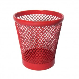 Office desktop red mini size mesh pen holder