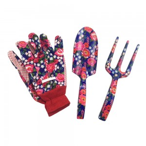 Floral printed gloves garden tool set