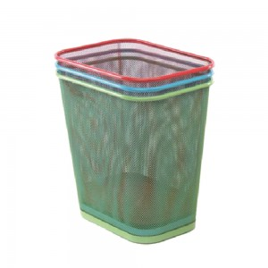 Colorful office metal mesh square paper waste bin
