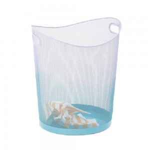 Oval shaped metal mesh office trash basket