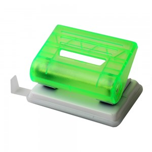 Transparent green plastic 12 sheets 2 holes paper punch