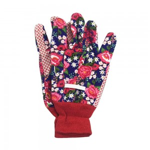 Flower printed cotton garden gloves
