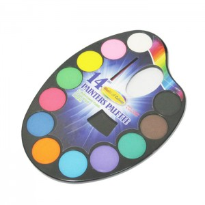 12 colors water painters palette with brush
