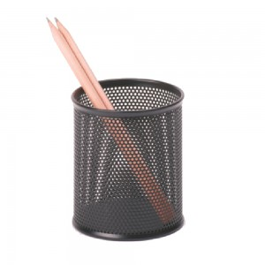 Office desktop black metal mesh pen holder