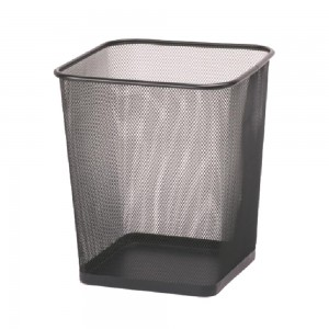Office metal mesh square waste basket