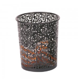Fancy flower design mesh waste basket