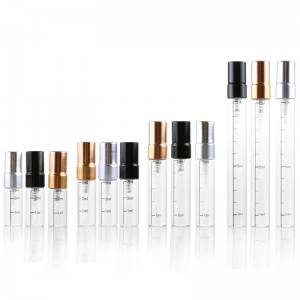 2.5ml 3ml 5ml 10ml perfume sample spray glass vials with aluminum pump sprayer