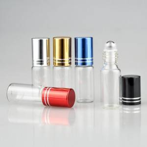 3ml clear glass vials with metal roller and gold color aluminum cap