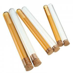 Laboratory round bottom glass test tube with cork lid