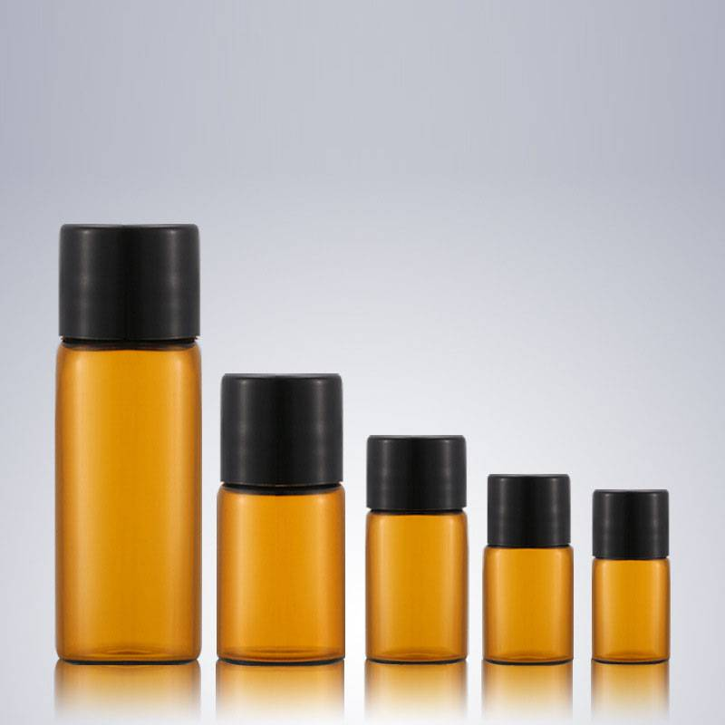 1ml 2ml 3ml 5ml 10ml amber screw neck glass vials with black plastic cap Featured Image