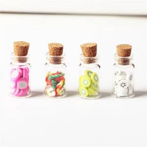 candy sweets sample packing glass vials with cork lid