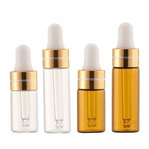 3ml 5ml dropper glass bottle in clear and amber color,  diameter 16mm glass vials