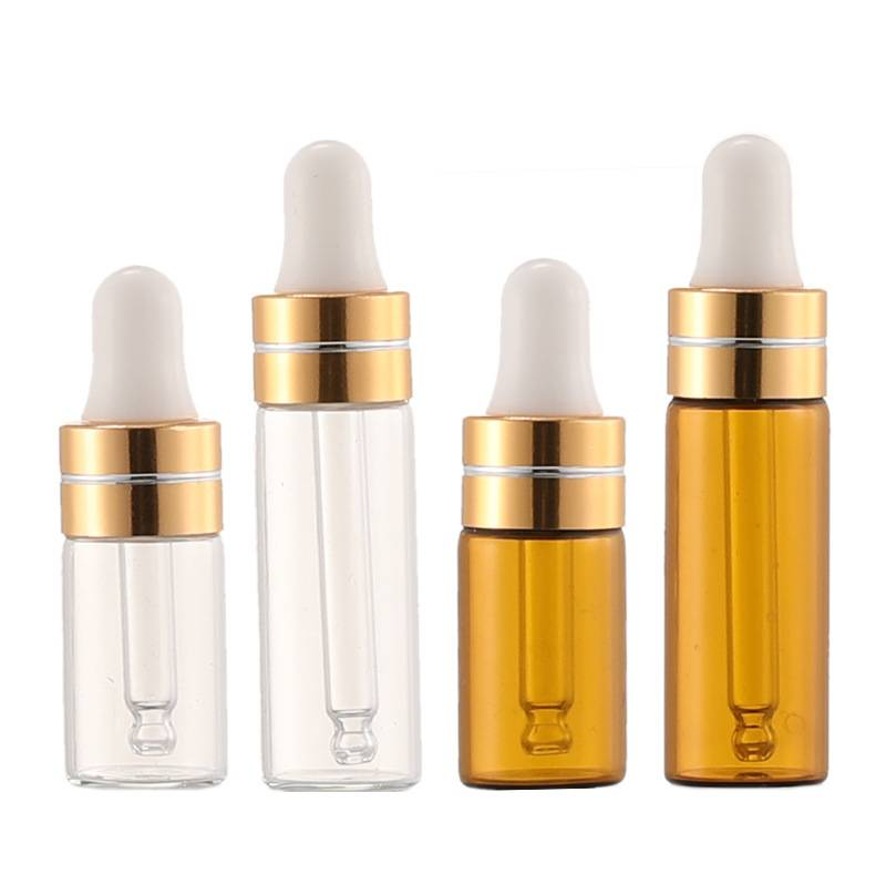 3ml 5ml dropper glass bottle in clear and amber color,  diameter 16mm glass vials Featured Image