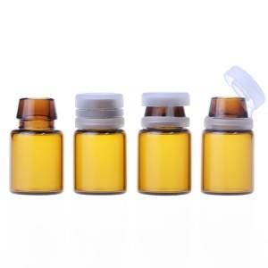 1ml 2ml crimp neck amber glass vials with plastic tear cover
