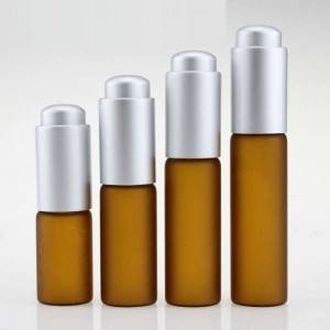 5ml 10ml 15ml 20ml frosted amber glass dropper vials with matte silver press dropper cap