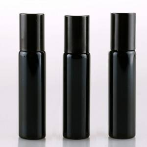 10ml Dark black glass roll on vials with black roller top cap