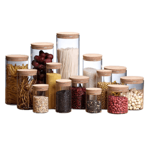 Factory Outlets Glass Storage Jar With Bamboo Lid -