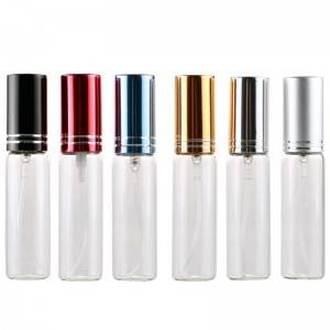 10ml empty perfume spray glass bottle with aluminum pump sprayer and cap with cutting line