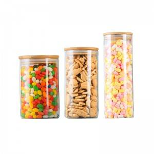 cylinder shaped glass storage jar with bammboo wood lid  for cookies, candy packing