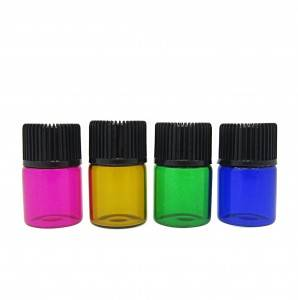 customized different colors essential oil sample glass vials with screw cap