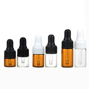 1ml 2ml 3ml clear and amber dropper glass vials with plastic dropper cap