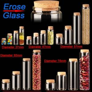 crimp neck clear borosilicate glass bottle with cork lid for packing tea leaf,  candy , food, seeds, sample, power, pills and so on.