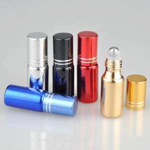 UV plated roller glass bottle with aluminum cap, color can be custom made