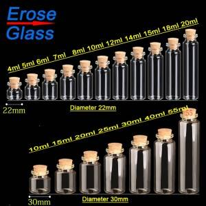 tubular glass vials with cork lid, crimp neck style,  clear glass bottle, more sizes and more usages
