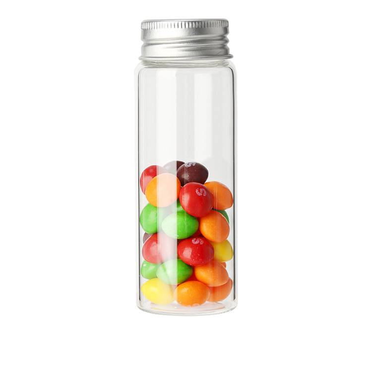 Candy sweets packing clear glass bottle with aluminum cap Featured Image