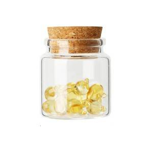 Capsule packing glass bottle with cork lid