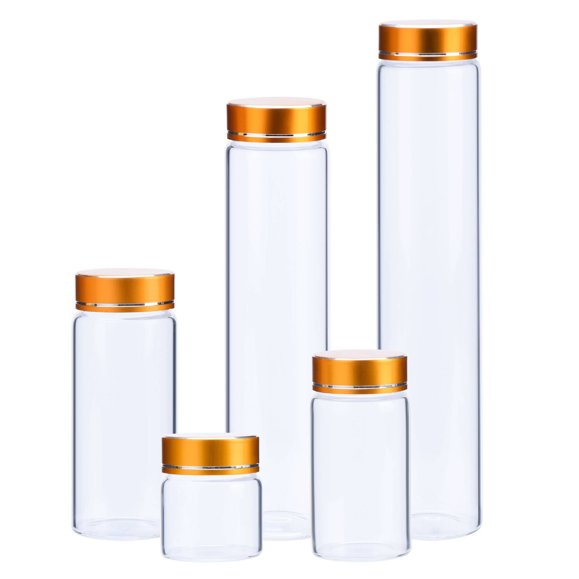 Diameter 37mm high borosilicate glass bottle with gold / blue aluminum cap Featured Image
