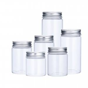 high transparent wide mouth high borosilicate glass bottle with aluminum screw cap