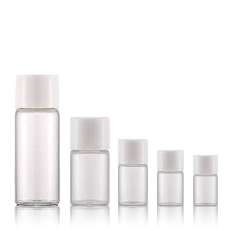 1ml 2ml 3ml 5ml 10ml clear screw neck glass vials with plastic cap Featured Image