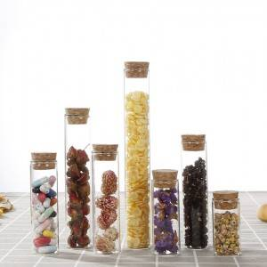 Clear high borosilicate glass test tube with cork lid for food, candy, tea, dry flower packing