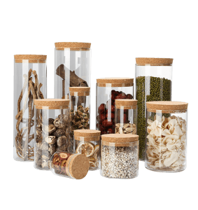custom made different sizes high borosilicate glass storage jars with cork lid
