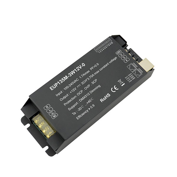 Short Lead Time for Dmx 512 Light Controller - 135W 12VDC 3.75A*3ch CV DMX Driver – Euchips