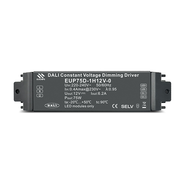 China New Product 12W Dimming LED Driver - 75W 12VDC 6.2A*1ch 220-240VAC CV DALI Driver – Euchips