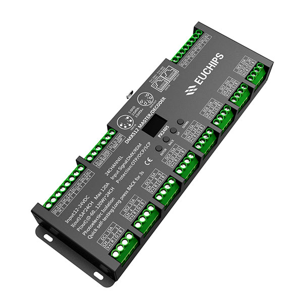 Factory For 100w Cv Triac Dimming - 12-24VDC 5A*24ch DMX512 Decoder & Master – Euchips Featured Image