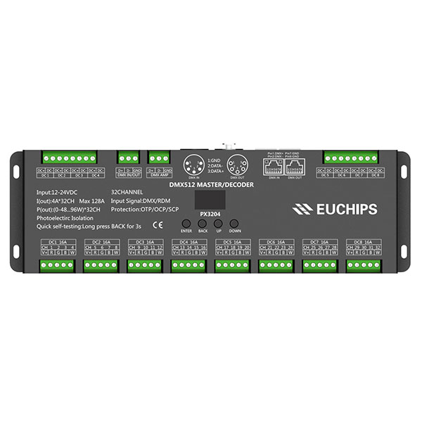 China Cheap price Triac Led Dimmer 230v – 12-24VDC 4A*32ch DMX512 Decoder & Master – Euchips detail pictures