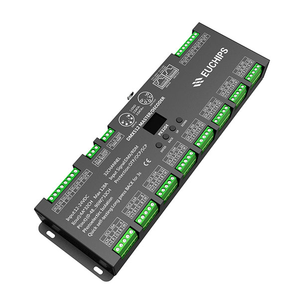 China Cheap price Triac Led Dimmer 230v – 12-24VDC 4A*32ch DMX512 Decoder & Master – Euchips Featured Image