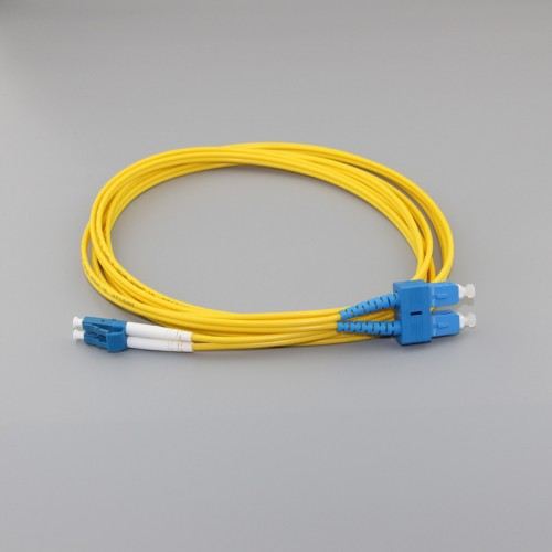 SC/PC to LC/UPC Duplex G657A1 9/125 Singlemode PVC Fiber Patch Cable Featured Image