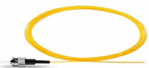 3m (10ft) ST UPC Simplex OS2 Single Mode PVC (OFNR) 0.9mm Fiber Optic Pigtail