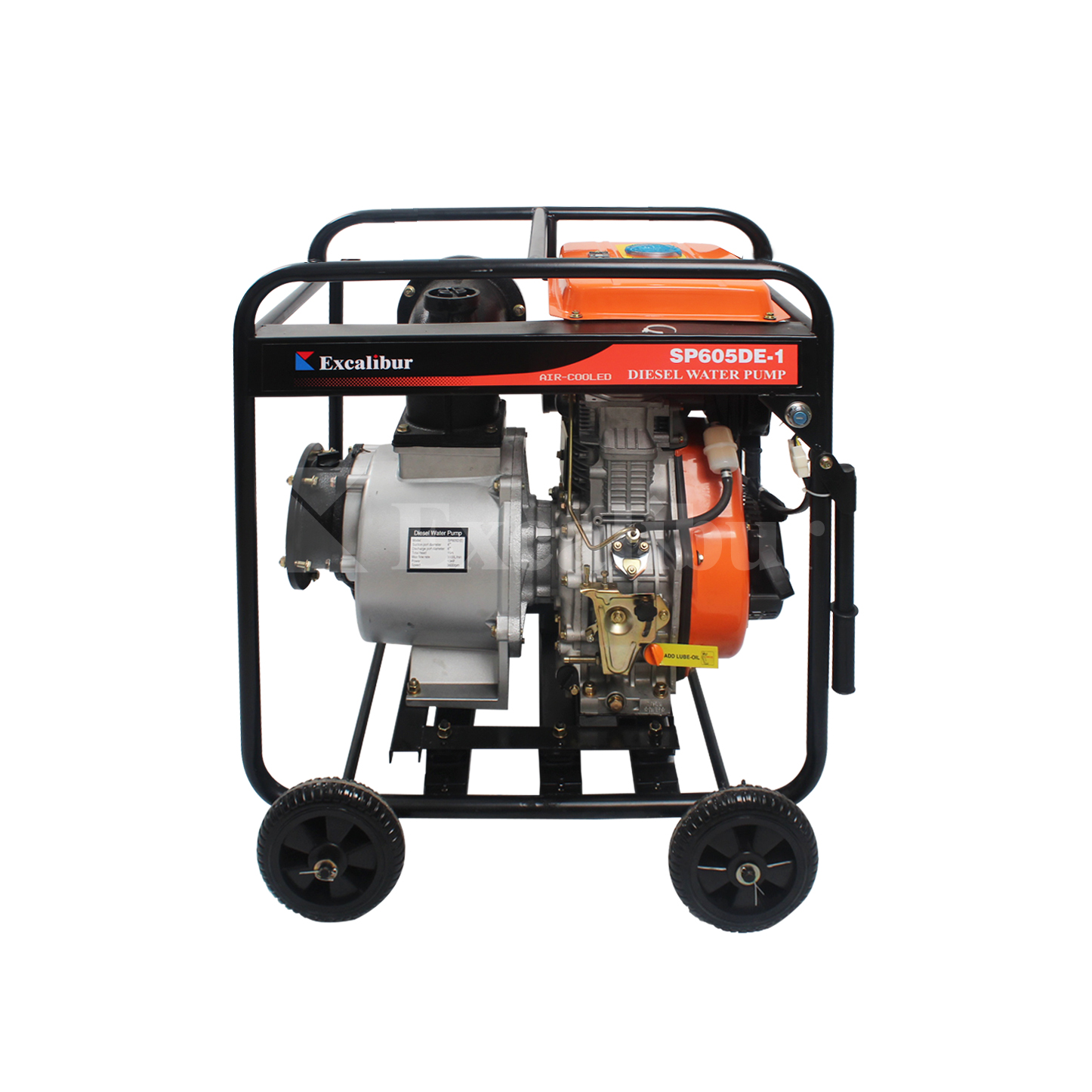 6″ Diesel Clear Water Pump SP605DE-1 with big fuel tank big trolley wheels