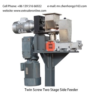 Twin screws Plastic polymer extruder used two stages side feeder