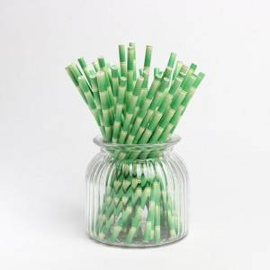 Used  Elderjoy Durable Bambow Natural  Paper Straws With Logo