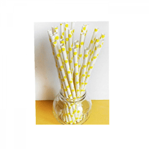Biodegradable Yellow Beautiful Paper Straws For Drinking