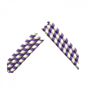 Purple Color Sharp Eco-friendly Paper Straws For Party Drinking