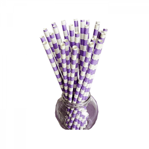 Purple Color 260-320mm Biodegradable Paper Straws For Drinking